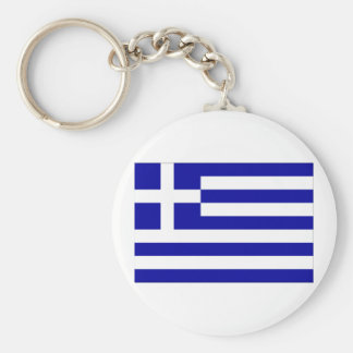 Greece Flag Basic Round Button Key Ring