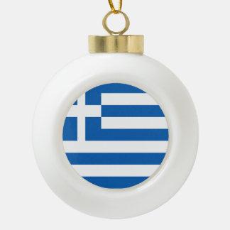 Greece Flag Ceramic Ball Christmas Ornament
