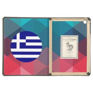 Greece flag circle on modern bokeh case for iPad air