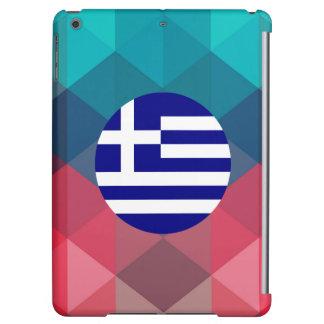 Greece flag circle on modern bokeh