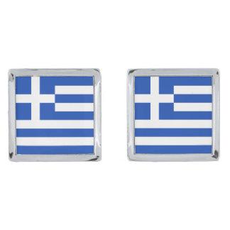 Greece Flag Cufflinks Silver Finish Cuff Links