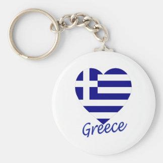 Greece Flag Heart Basic Round Button Key Ring