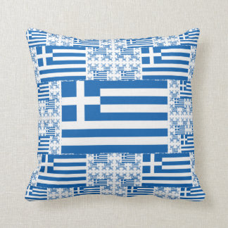 Greece Flag in Multiple Colorful Layers Cushion