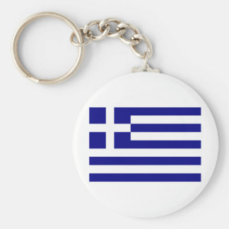 Greece Flag Basic Round Button Key Ring