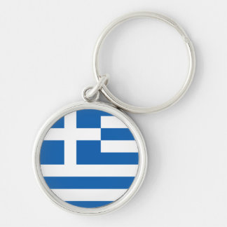 Greece Flag Silver-Colored Round Key Ring