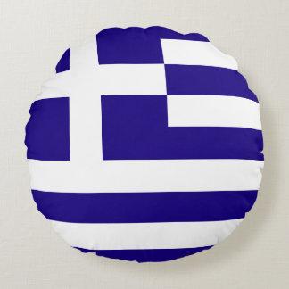 Greece Flag Round Pillow