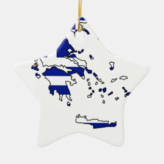 GREECE FLAG MAP CERAMIC ORNAMENT