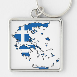 Greece Flag Map GR Silver-Colored Square Key Ring