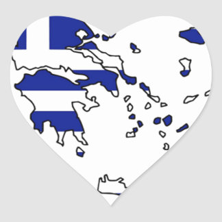 GREECE FLAG MAP HEART STICKER