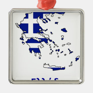 GREECE FLAG MAP METAL ORNAMENT