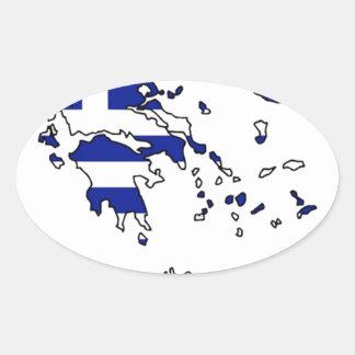 GREECE FLAG MAP OVAL STICKER