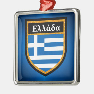 Greece Flag Metal Ornament
