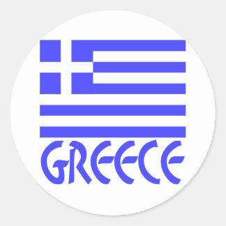 Greece Flag & Name Classic Round Sticker