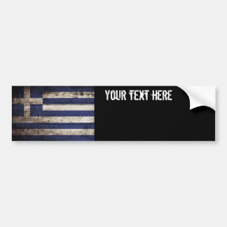 Greece Flag on Old Wood Grain Bumper Stickers
