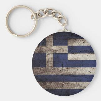 Greece Flag on Old Wood Grain Keychains