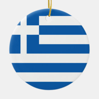 Greece Flag Round Ceramic Decoration