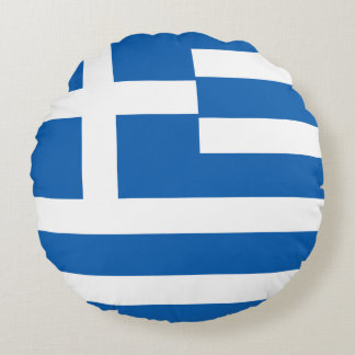Greece Flag Round Cushion