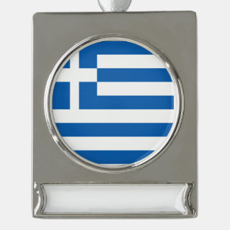 Greece Flag Silver Plated Banner Ornament
