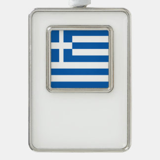 Greece Flag Silver Plated Framed Ornament