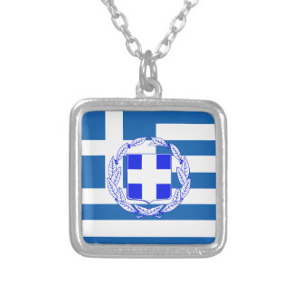 Greece flag silver plated necklace