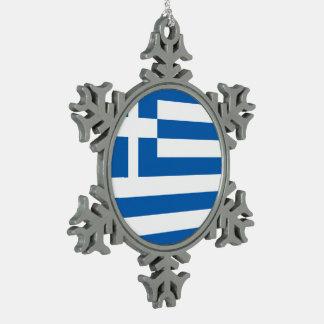Greece Flag Snowflake Pewter Christmas Ornament
