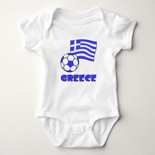 Greece Flag Soccer Ball Baby Bodysuit
