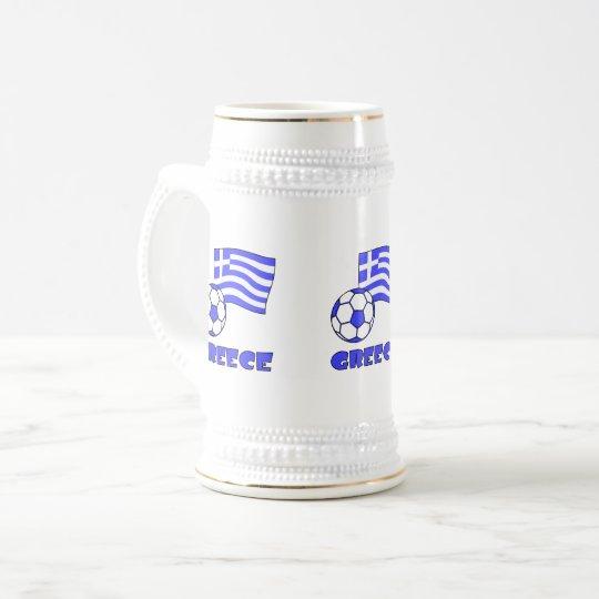 Greece Flag Soccer Ball Beer Stein
