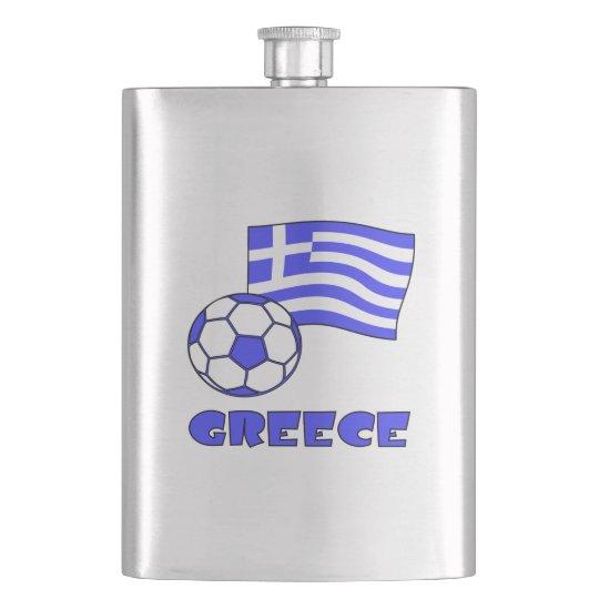 Greece Flag Soccer Ball Hip Flask
