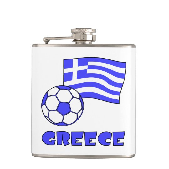 Greece Flag Soccer Ball Hip Flask