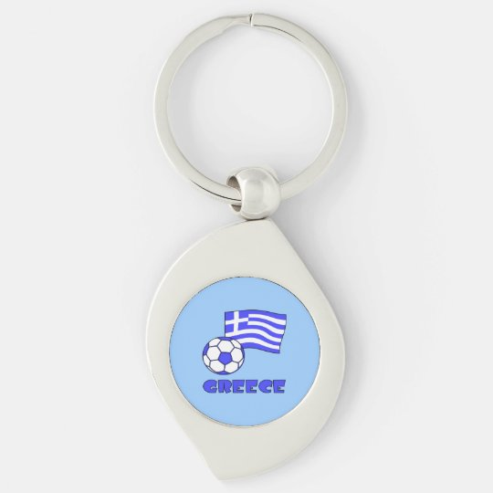 Greece Flag Soccer Ball Key Ring