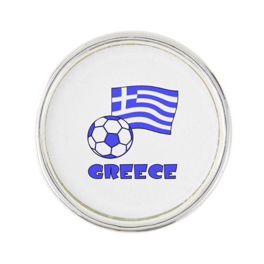 Greece Flag Soccer Ball Lapel Pin