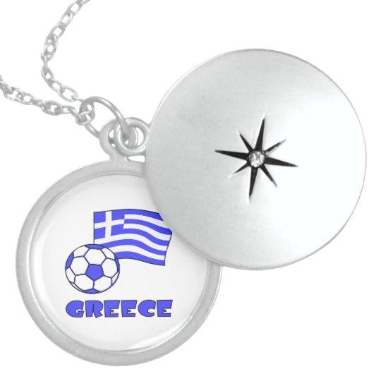 Greece Flag Soccer Ball Locket Necklace