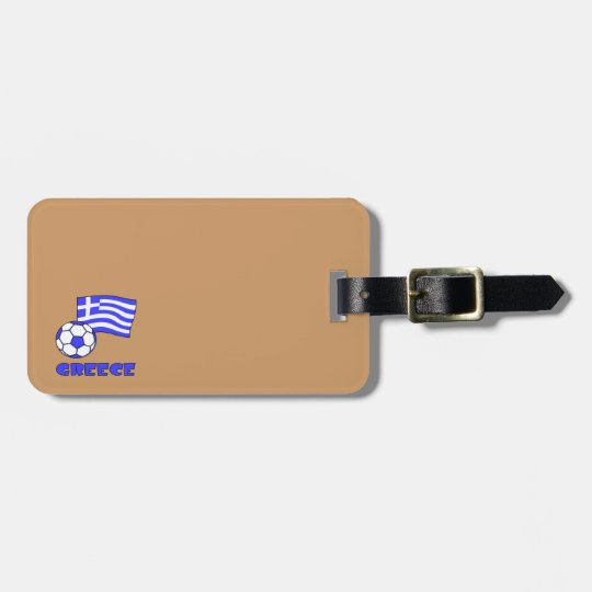 Greece Flag Soccer Ball Luggage Tag
