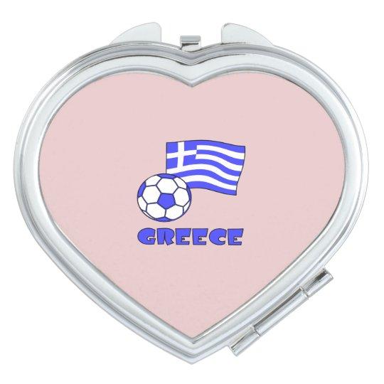 Greece Flag Soccer Ball Mirror For Makeup
