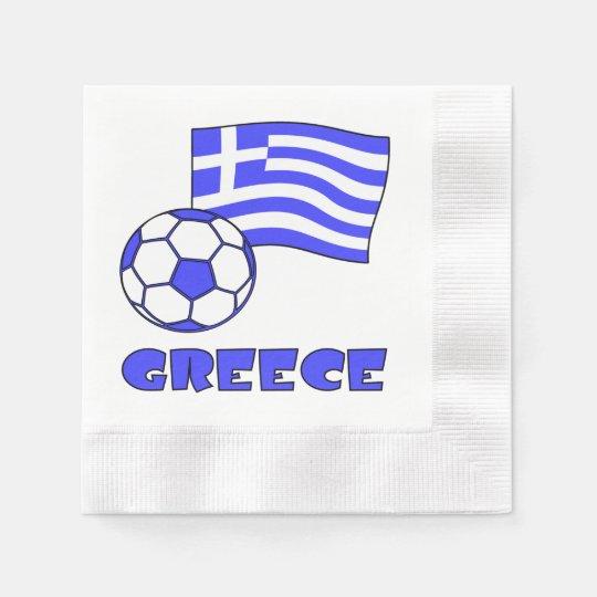 Greece Flag Soccer Ball Paper Napkin