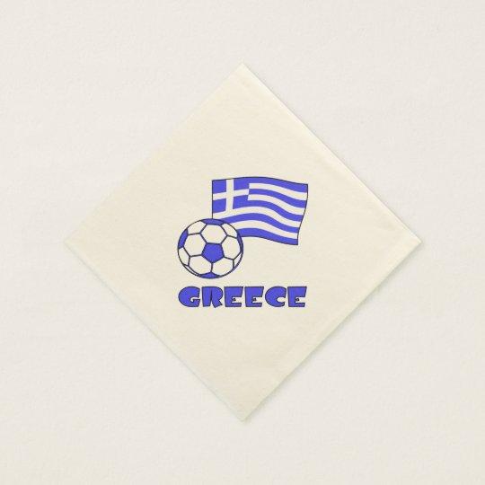 Greece Flag Soccer Ball Paper Napkins