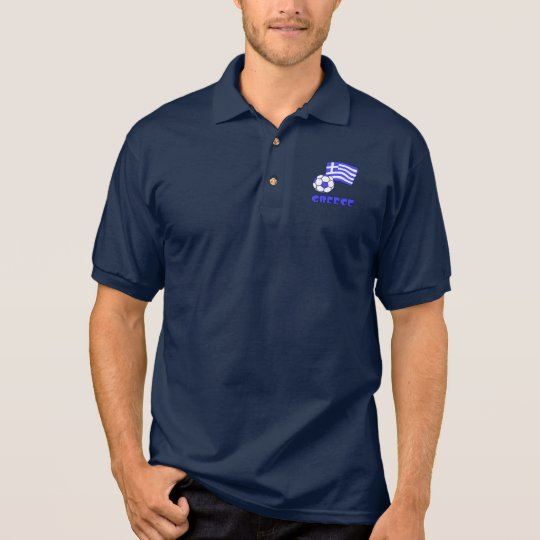 Greece Flag Soccer Ball Polo Shirt