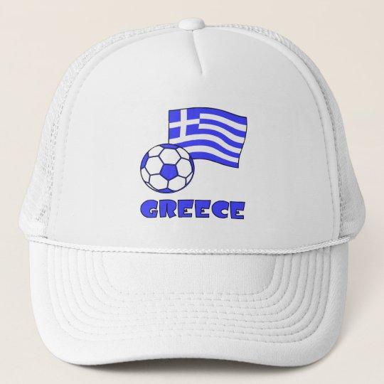 Greece Flag Soccer Ball Trucker Hat