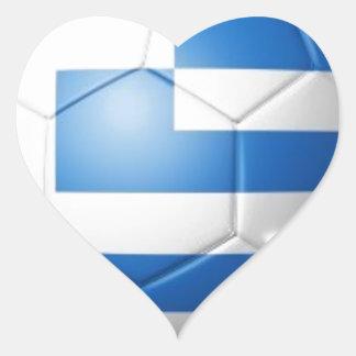 GREECE FOOTBALL FLAG HEART STICKER