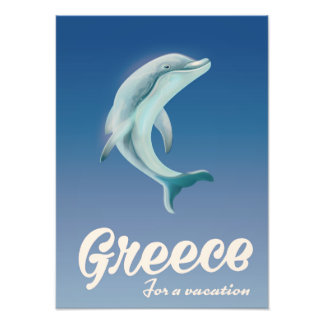 Greece for a vacation Dolphin travel poster