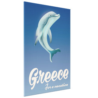 Greece for a vacation Dolphin travel poster Canvas Print