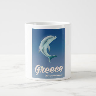Greece for a vacation Dolphin travel poster Large Coffee Mug