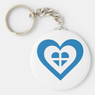Greece Heart Basic Round Button Key Ring