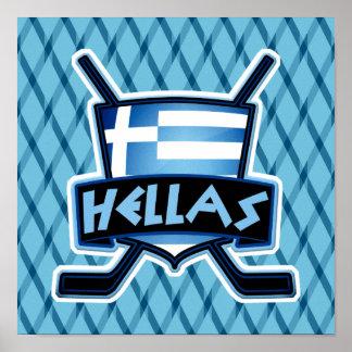 Greece Ice Hockey Flag Logo Poster Print