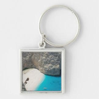 GREECE, Ionian Islands, ZAKYNTHOS, SHIPWRECK Silver-Colored Square Key Ring