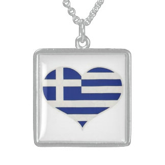 Greece love flag-Sterling Silver Square Necklace