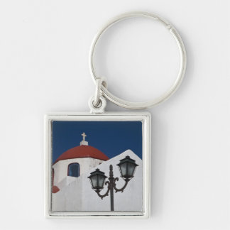 Greece, Mykonos, Chapel with red dome and Silver-Colored Square Key Ring