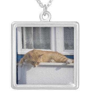 Greece, Mykonos. Curious orange tabby cat looks Square Pendant Necklace