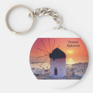 Greece Mykonos Sunset (St.K) Basic Round Button Key Ring