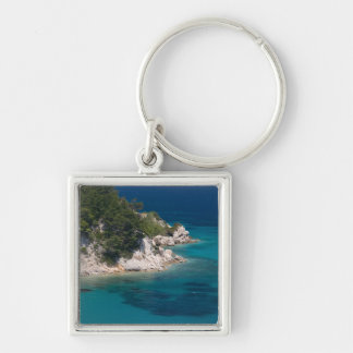 GREECE, Northeastern Aegean Islands, SAMOS, Silver-Colored Square Key Ring